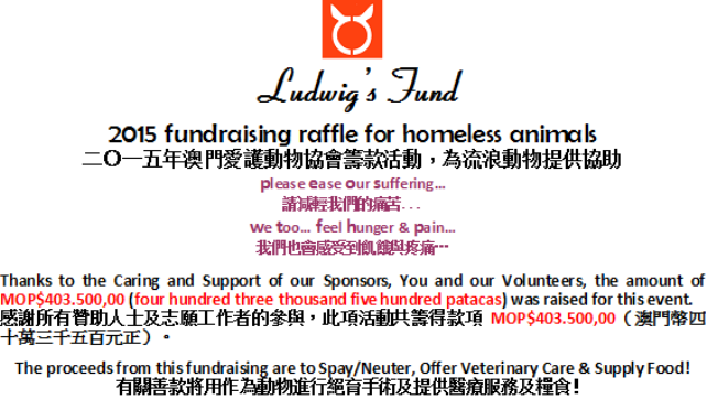 2015 Fundraising for homeless animals thanks-sponsors-volunteers